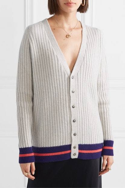 Striped Ribbed Cashmere Cardigan