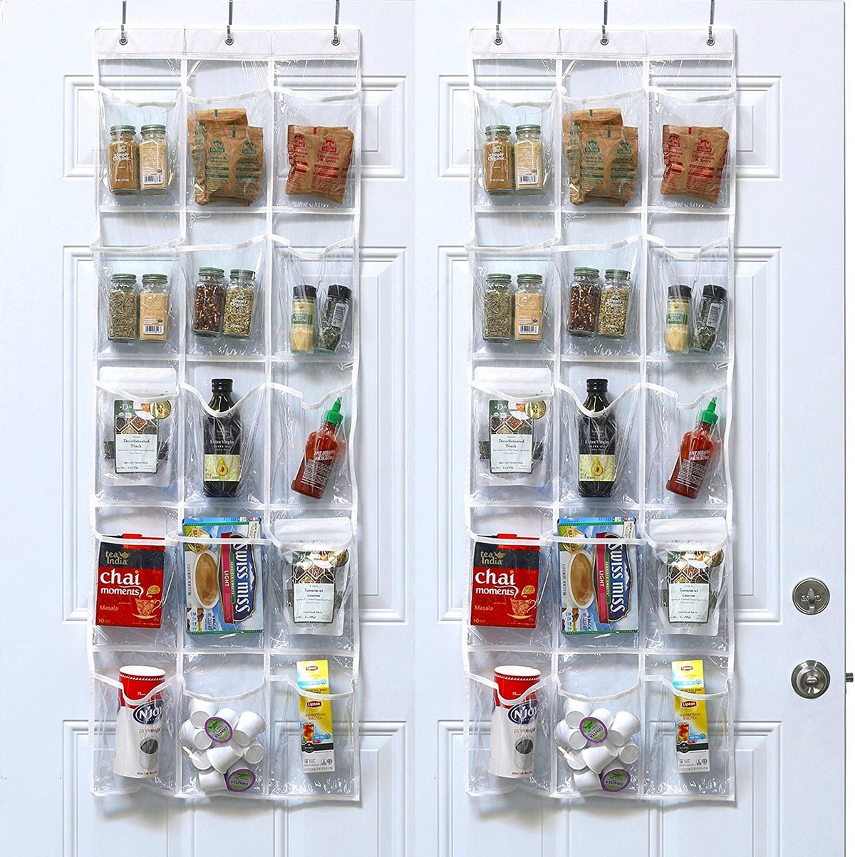 SimpleHouseware Crystal Clear Over The Door Hanging Pantry Organizer (2-Pack)