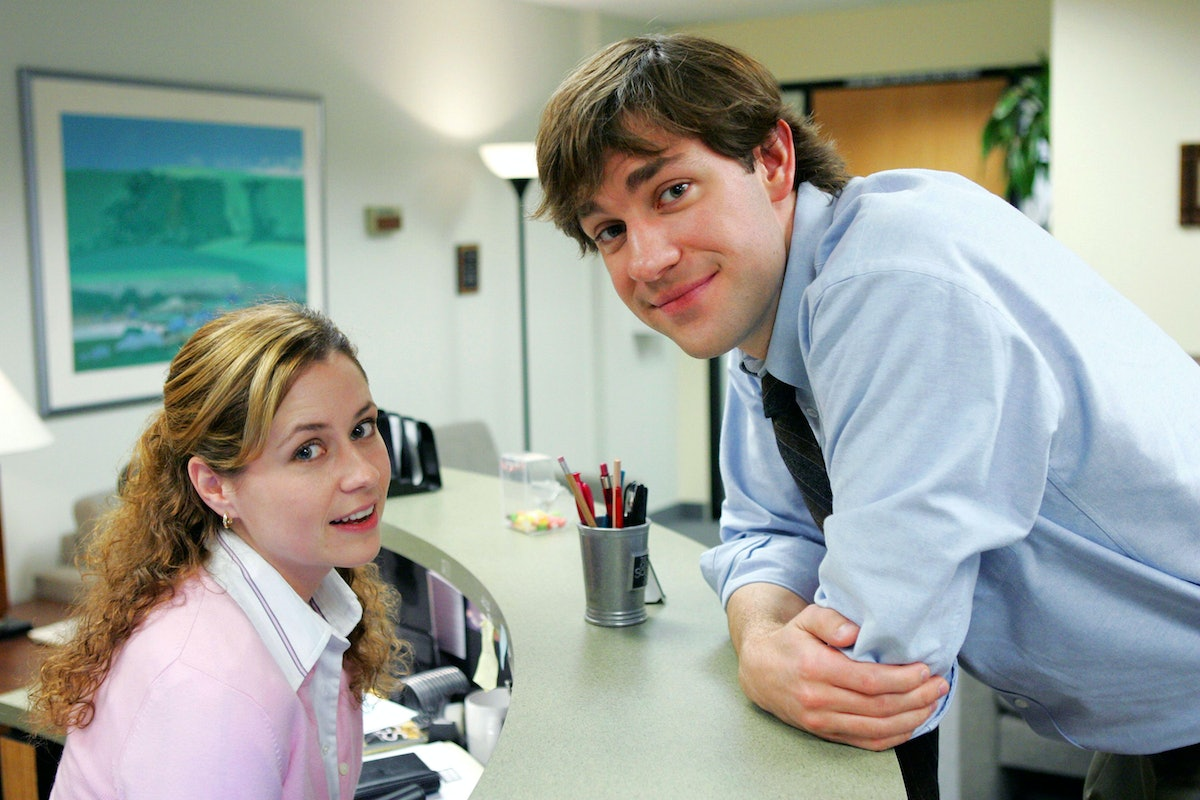 Pam & Jim smiling on 'The Office', in need of Instagram captions.