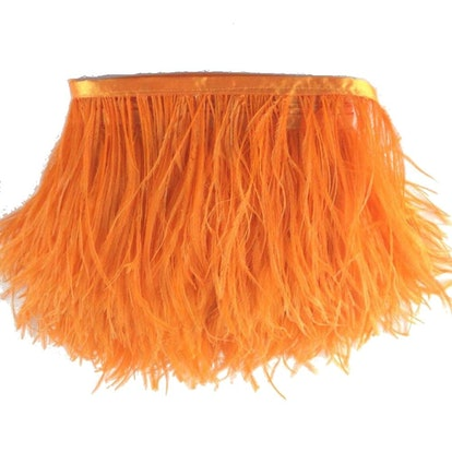 Sowder Ostrich Feathers Trims Fringe With Satin Ribbon Tape Dress Sewing Crafts Costumes Decoration Pack of 2 yards(orange)