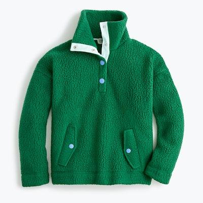 J. Crew Snap Collar Sweatshirt In Polartec Fleece