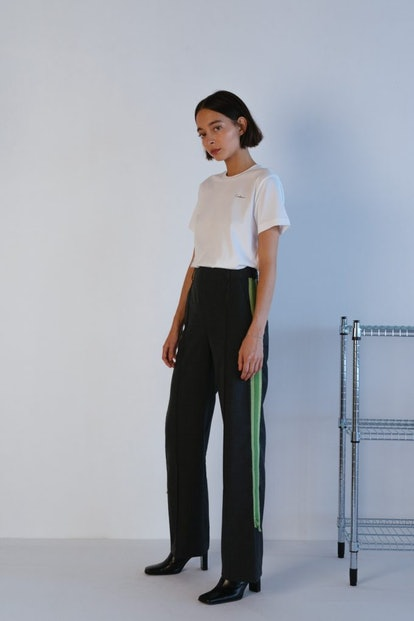 Frayed Tailored Trousers In Stone Grey