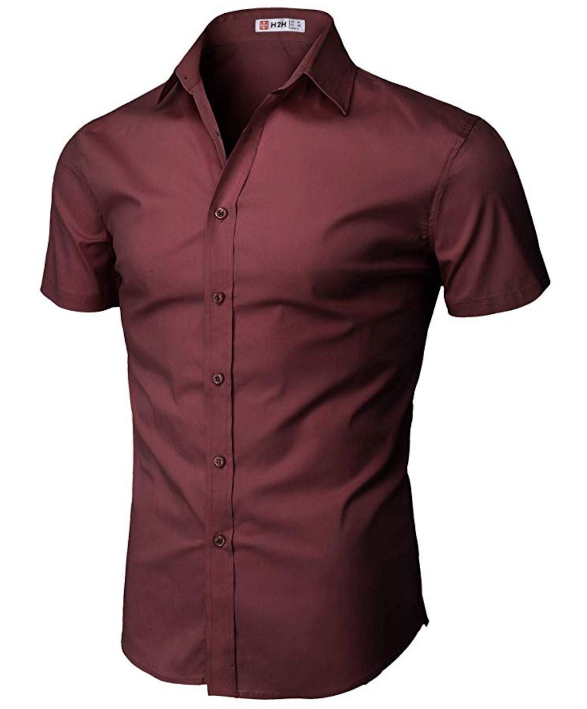 H2H Mens Casual Slim Fit Button-Down Dress Shirt