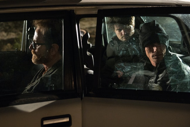 Bryan Cranston as Walter White, Charles Baker as Skinny Pete, and Matt Jones as Badger in a car in the Breaking Bad series finale