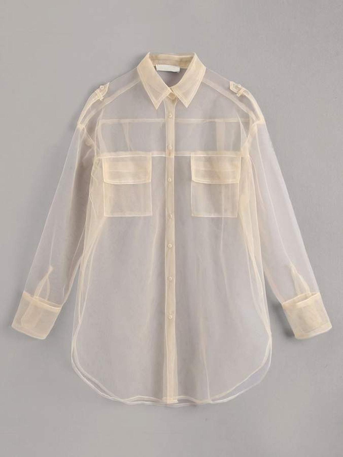 Organza Pocket Front Sheer Blouse