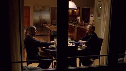 Giancarlo Esposito as Gus Fring and Aaron Paul as Jesse Pinkman in a scene from Breaking Bad