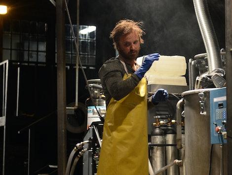 Aaron Paul as Jesse Pinkman cooking meth in the Breaking Bad finale