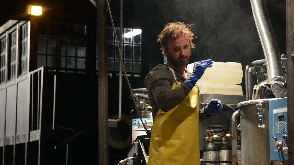 Aaron Paul as Jesse Pinkman cooking meth in the Breaking Bad finale