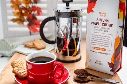 Enjoy a cup of autumn maple coffee with a maple leaf cookie on the side. Credit: Trader Joe's