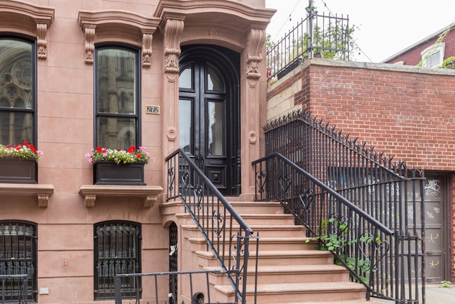 The exterior of Booking.com's Addams Family Mansion property in Brooklyn's Clinton Hill neighborhood.