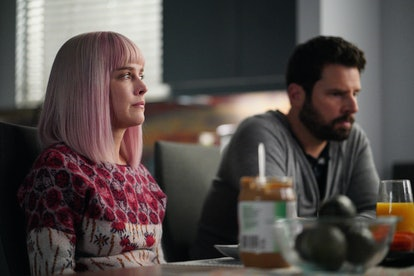 James Roday as Gary on A Million Little Things and his girlfriend Maggie played by Allison Miller sit and look solemn.
