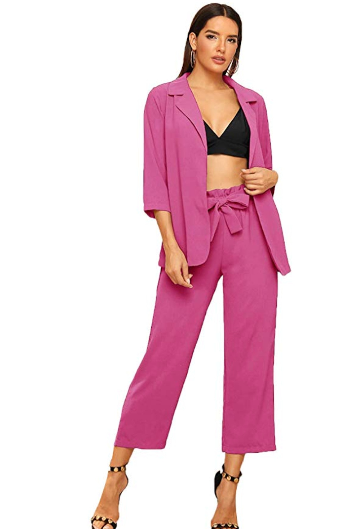 SheIn Women's 2 Piece Outfit Notched Neck 3/4 Sleeve Blazer and Wide Leg Belted Pants Set