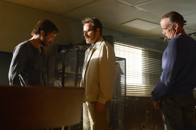 Aaron Paul as Jesse Pinkman, Bryan Cranston as Walter White, Michael Bowen as Uncle Jack in the Breaking Bad series finale