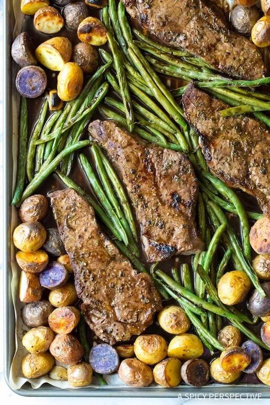 sheet pan recipes with steak, balsamic steak sheet pan dinner