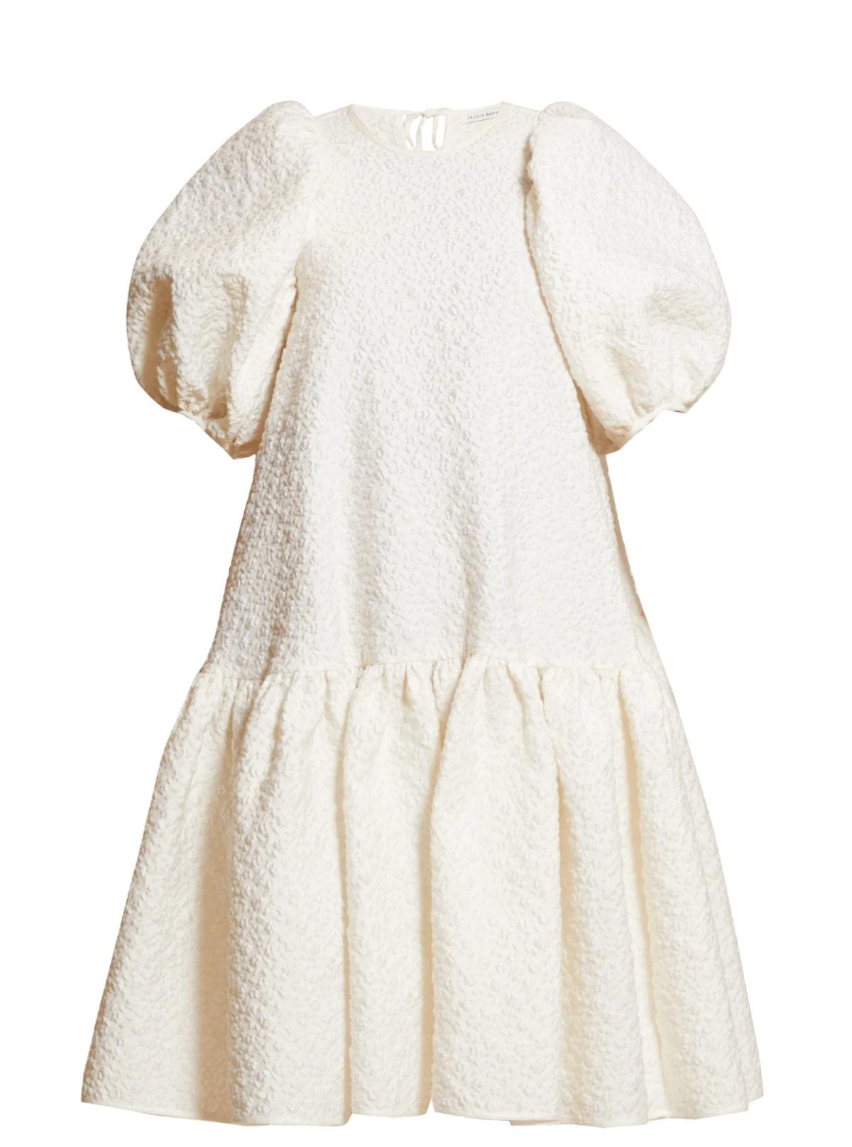 Alexa Puffed-Sleeve Cloqué Dress