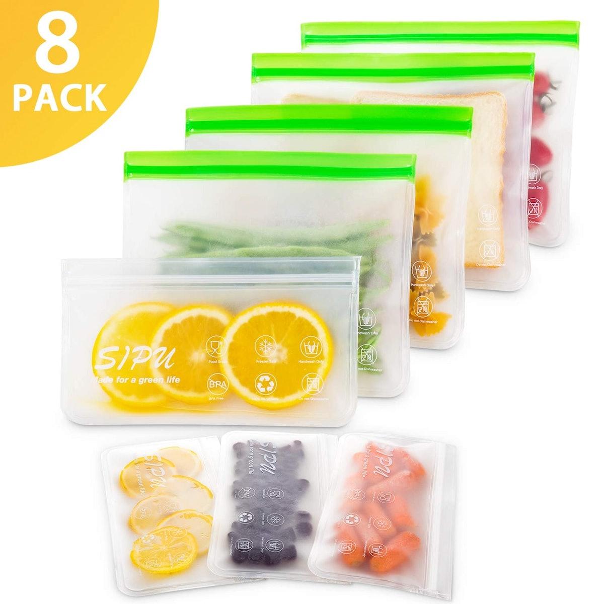 SIPU DUAL Leakproof Reusable Food Storage Bags (8-Pack)
