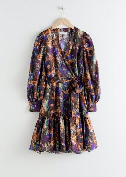 Watercolour Ruffle Mini Wrap Dress