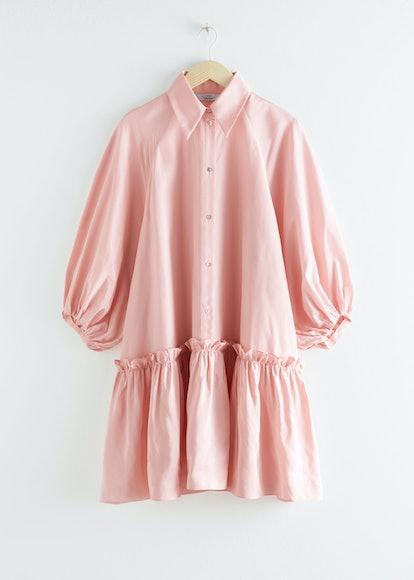 Puff Sleeve Ruffled Mini Dress