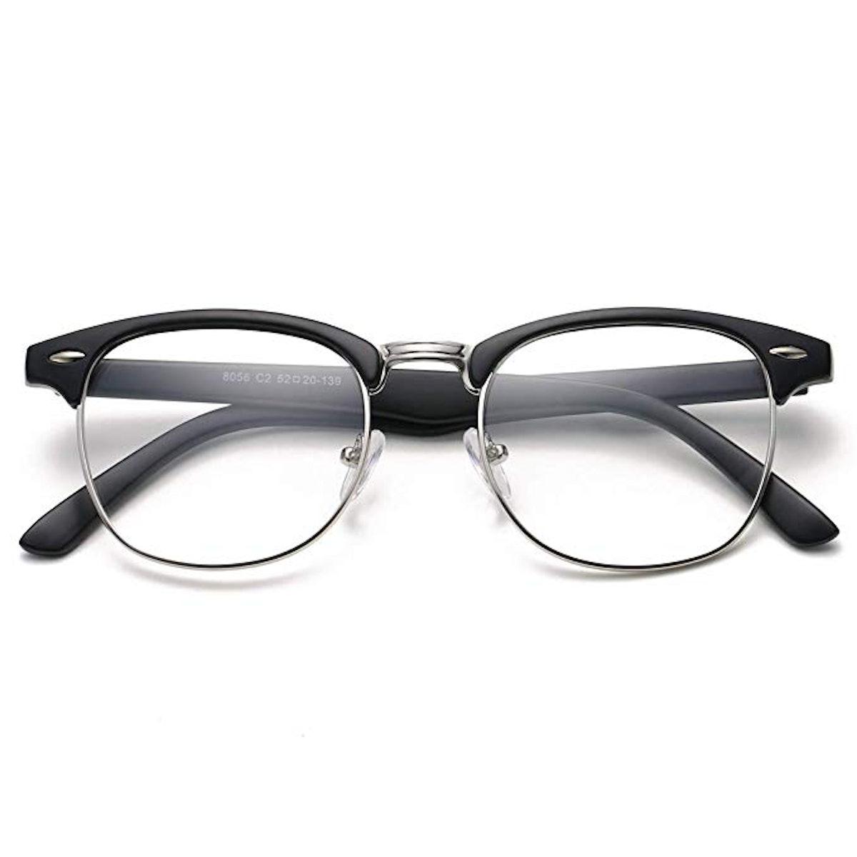 COASION Vintage Semi-Rimless Clear Glasses Fake Horn Rimmed Eyeglasses Frame