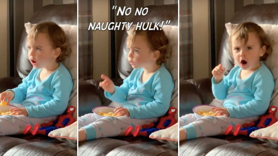 The Hulk mesmerized a toddler as she watched his transformation