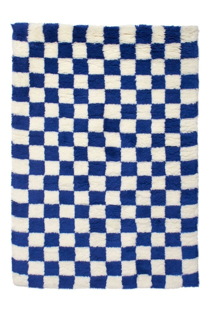 Blue Checkmate Shag Rug