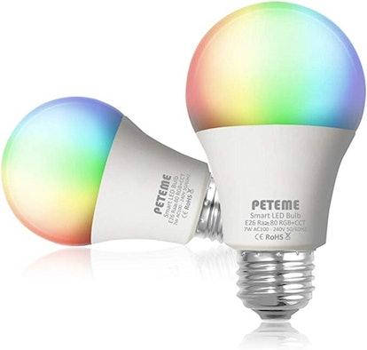 Peteme Smart LED WiFi Multicolor Light Bulbs (2-Pack)