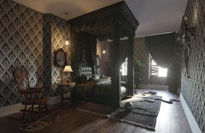 The Master Bedroom in Booking.com's Addams Family Mansion.
