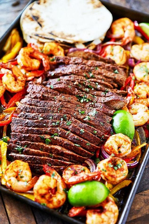 sheet pan recipes with steak, steak and shrimp sheet pan fajitas