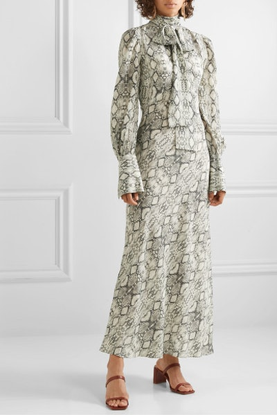 Snake-Print Silk Crepe de Chine Midi Dress