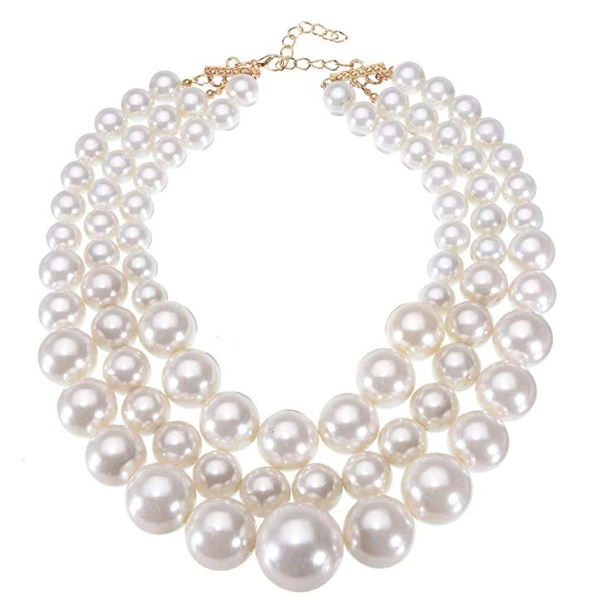 Jerollin Fashion Jewelry Multi Strand Simulated Pearl Resin Chain Collar Choker