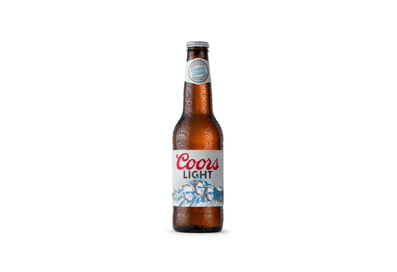 A bottle of the limited-edition Coors Light Brewed With The Jonas Brothers beer.