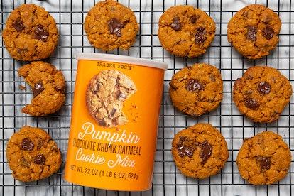 Bake a fresh batch of pumpkin chocolate chunk oatmeal cookies, with a little help from Joe. Image credit: Trader Joe's