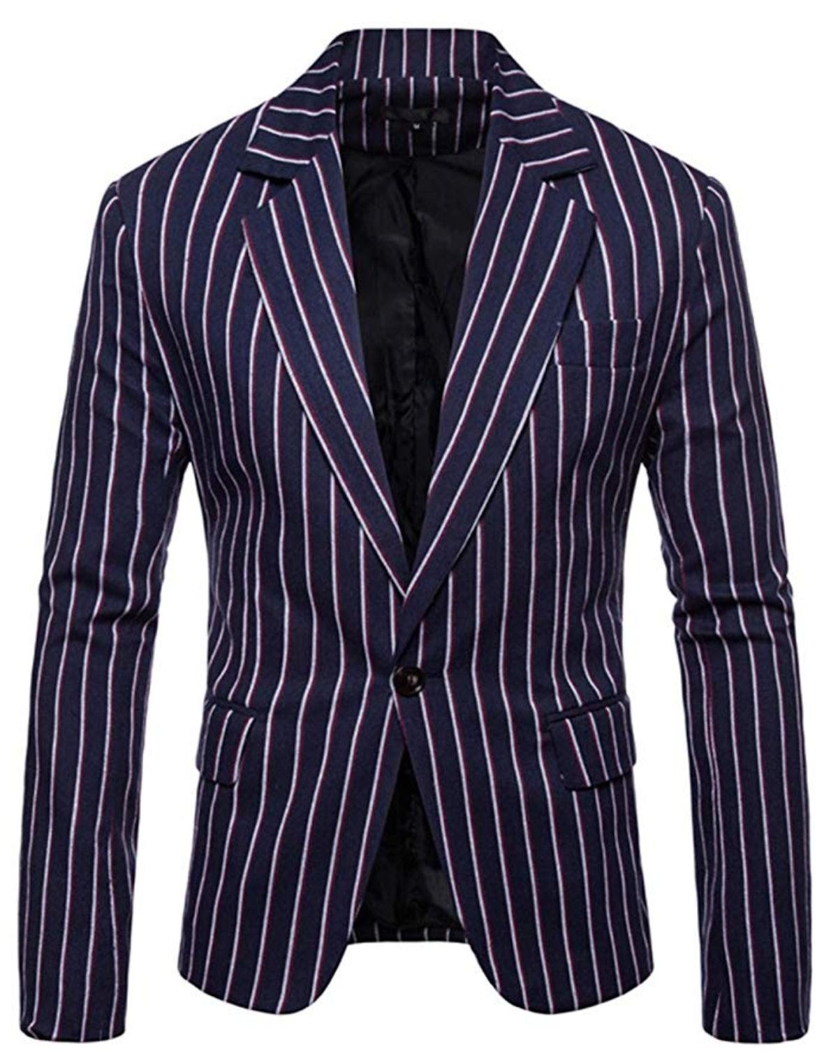 Iynnijoy Men's Casual Pinstripe Sport Coat