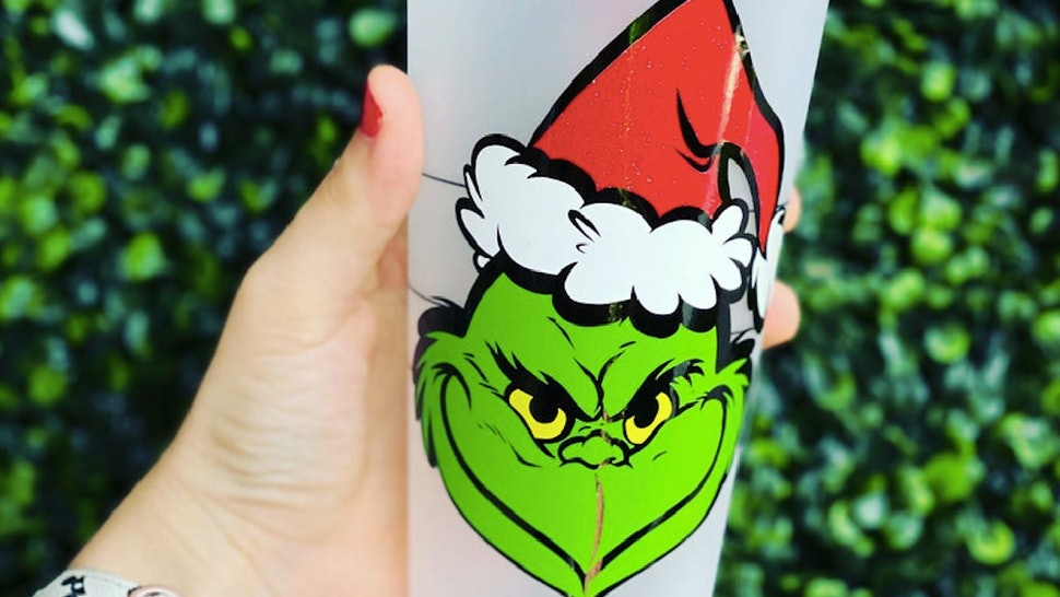 A 'Grinch' Starbucks cup available on Etsy.
