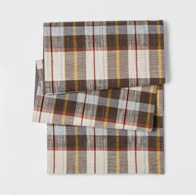 Plaid Table Runner Brown
