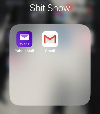 """A screenshot of an iPhone app folder labeled """"Shit Show,"""" containing two email apps, shows how you can hide your email apps to use your phone more mindfully"""