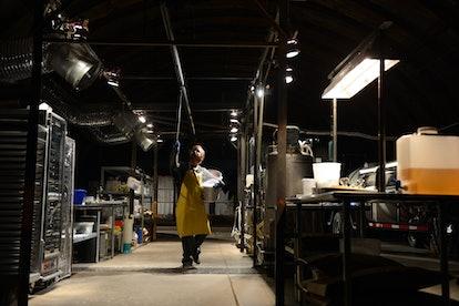 Aaron Paul as Jesse Pinkman cooking meth in the Breaking Bad series finale