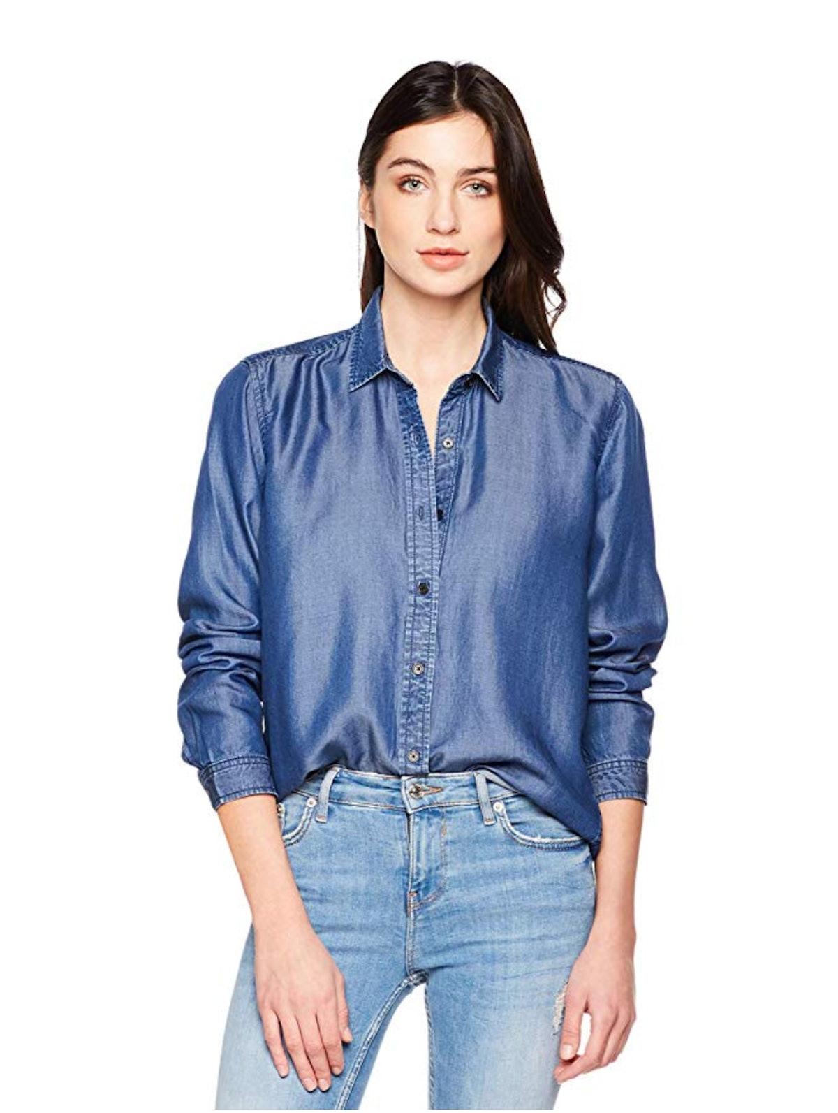 PD Peppered Denim Women's Casual Long Sleeve Tencel Denim Shirt