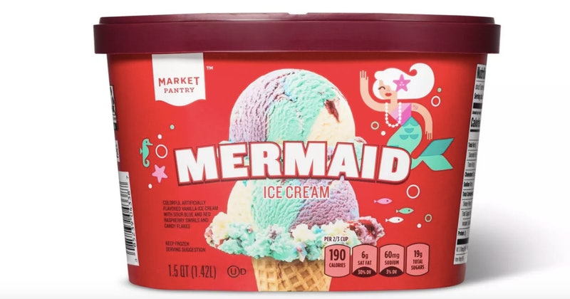 The new Mermaid Ice Cream from Target has candy flakes inside.