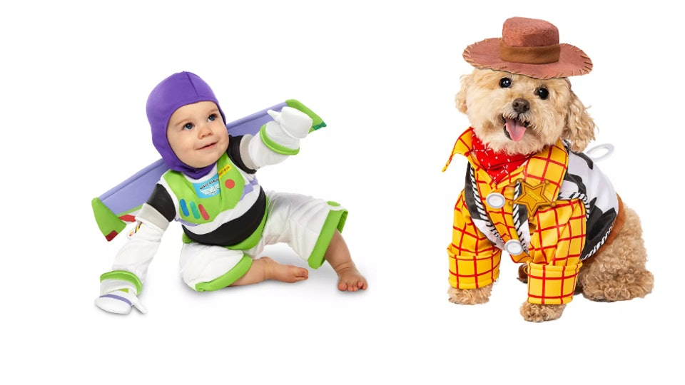 These Halloween costumes for babies and dogs include Buzz Lightyear and Woody