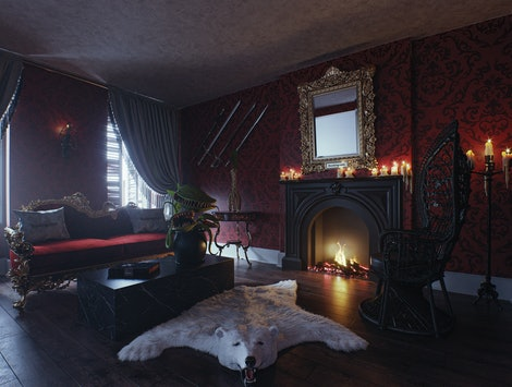The living room of Booking.com's Addams Family Mansion property.