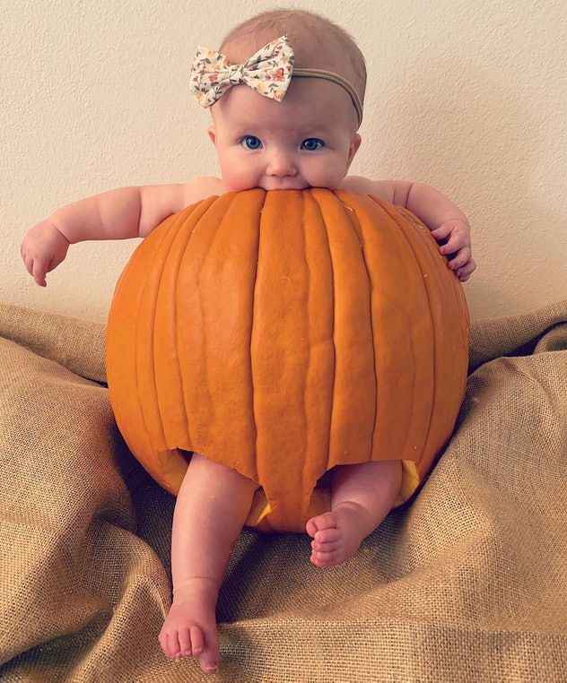 pics of babies dressed as pumpkins, baby in a pumpkin