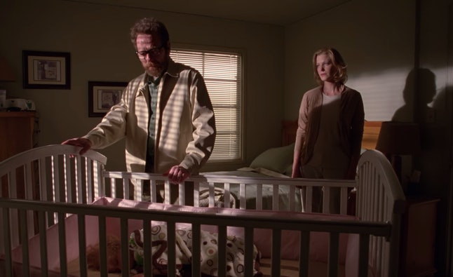 Bryan Cranston as Walt and Anna Gunn as Skyler in Holly's bedroom in the 'Breaking Bad' finale