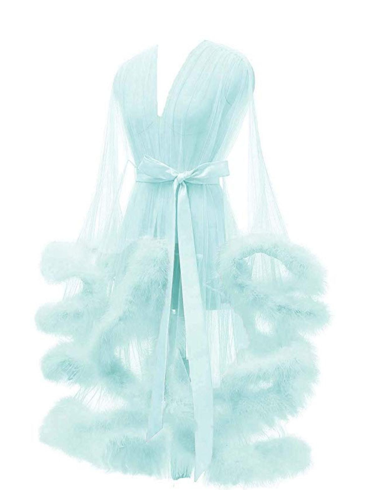 Lamosi Sexy Feather Robe Illusion High Low Boudoir Robe Nightgown Bathrobe Bridal Lingerie Wedding Scarf