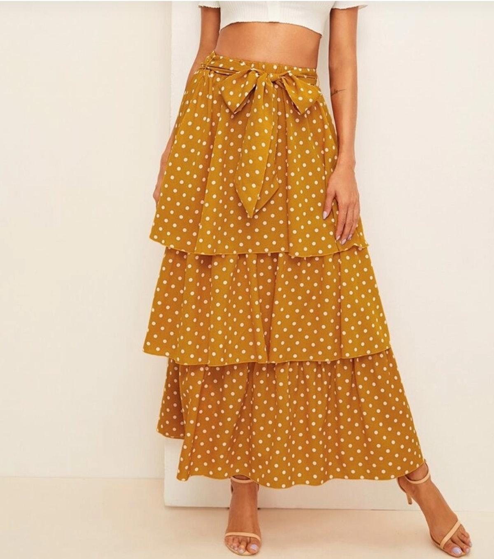 Polka Dot Self Belted Layered Hem Skirt