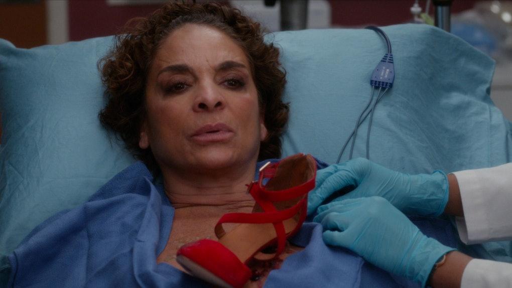 Gemma on Grey's Anatomy with shoe in her sternum