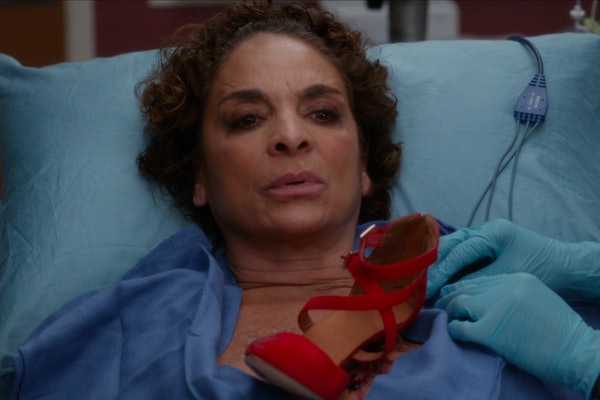 Gemma on Grey's Anatomy with shoe in her sternum