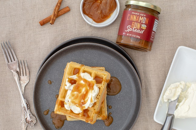 Try drizzling some cinnamon bun spread on your waffles in the morning. Credit: Trader Joe's