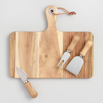 Cheese Knives And Cutting Board, 4 Piece Set