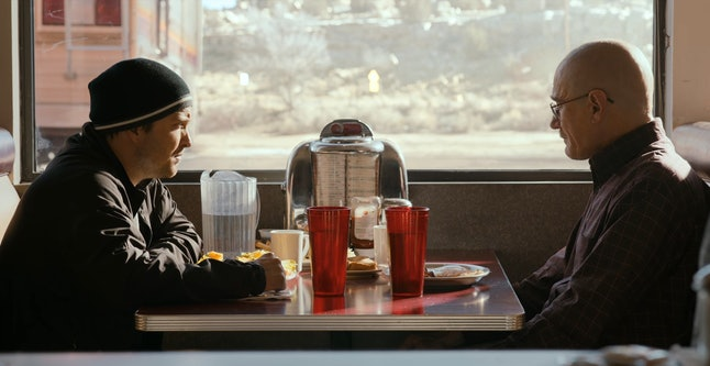 Aaron Paul as Jesse Pinkman and Bryan Cranston as Walter White in 'El Camino: A Breaking Bad Movie'